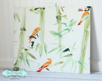 Fabric covered magnetic bulletin board 16 inch x 20 inch covered in bright birds on bamboo fabric - note board command center message board