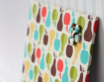 Magnetic Bulletin Board 16inx16in - Ready to Ship - Apples and Pears Fabric