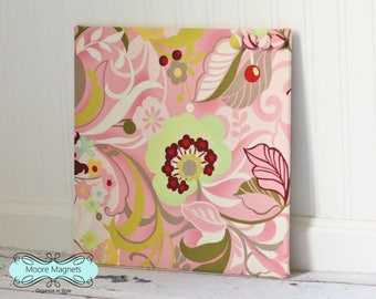 Wall-Mount Magnet Board 12inx12in No Frame - hunky dory pink floral fabric - bulletin board note board command center office organizer