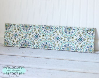 Wall-Mount Magnet Board 6inx24in - Ready to Ship - Green and Blue Ornate Ovals on Light Cream Fabric