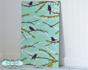 Wall-Mount Magnet Board 12inx18in No Frame - turquoise and plum birds fabric - bulletin board note board command center office organizer