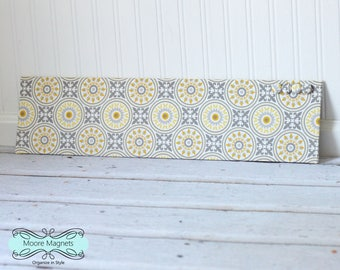 Wall-Mount Magnet Board 6inx24in - Ready to Ship - Yellow and Gray Medallions Fabric