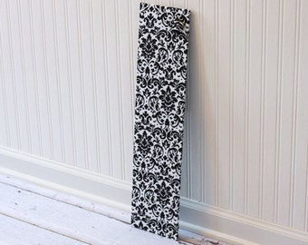 Wall-Mount Magnet Board 6inx24in - Ready to Ship - Black and White Damask Fabric