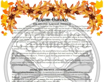 AUTUMN EQUINOX Fairy HARVEST Mabon Page, Instant Download Fairy Glamerie, Book of Shadows, An Leabhar Book of Secrets, Grimoire, BoS