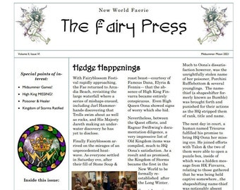 Newsletter No.10 THE FAIRY PRESS June 2021, Instant Download, HeDGE Chronicles, FaE Productions