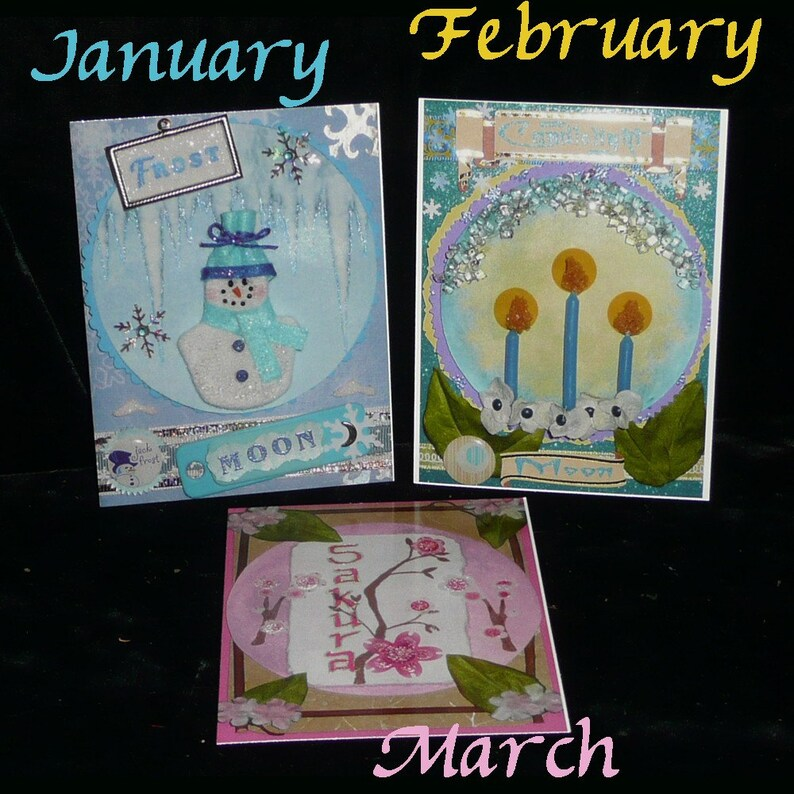 Fairy POSTCARD SET 12 FaIRY MOONs January to December