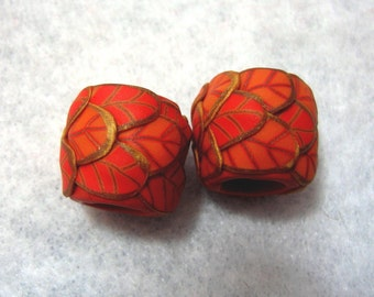 Dread Beads Red and Orange Leaf  Set of 2   Matte Finish You Choose Hole Size