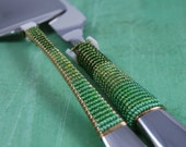 RESERVED LISTING - 2 Piece Cake Set - Knife And Server Beaded In Lovely Shades Of Green