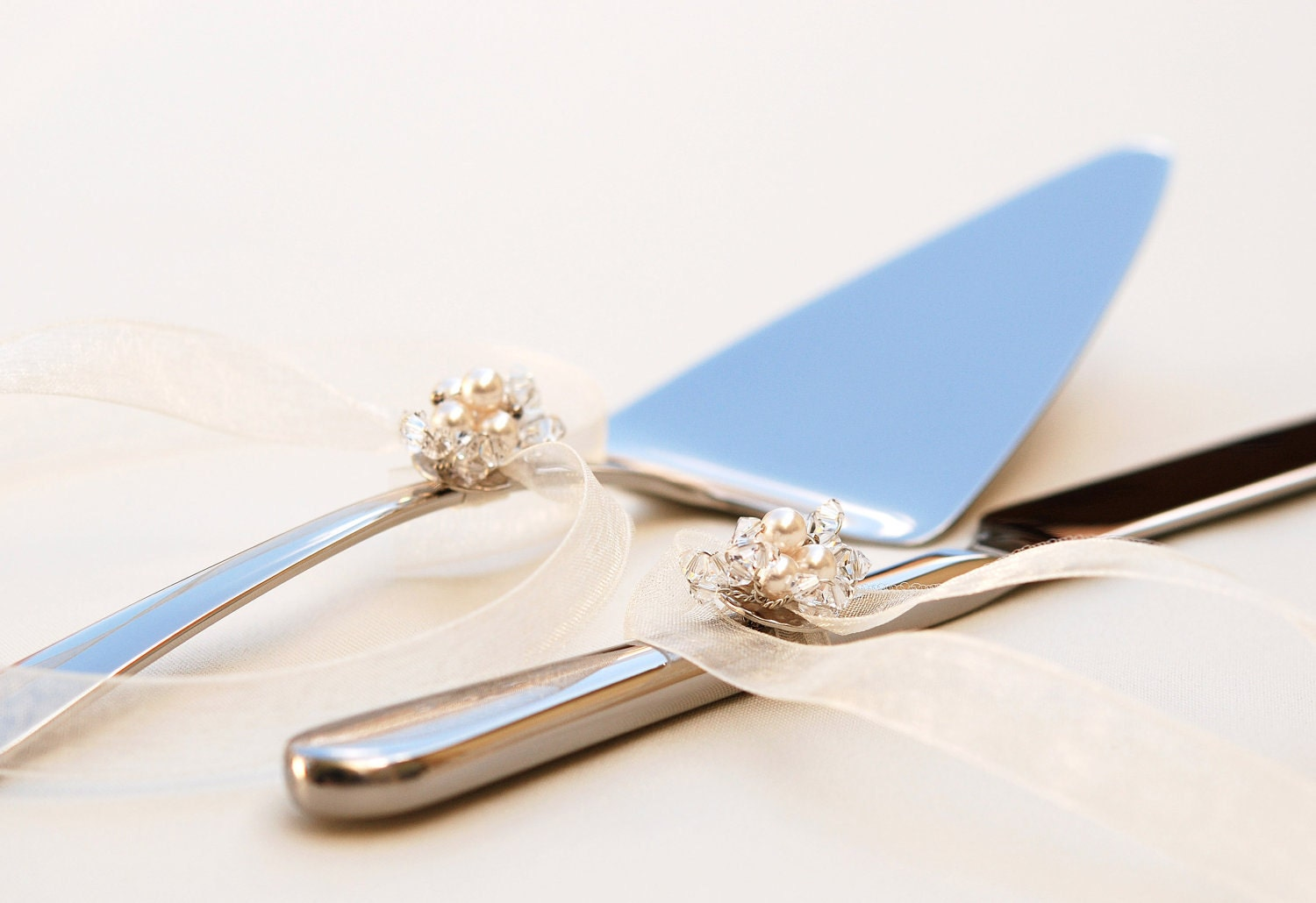 A Vintage Wedding Cake Server And Knife Set With Removable