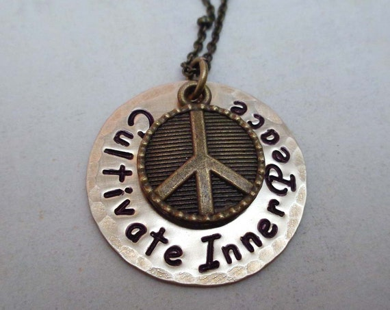 Inner Peace Necklace / Mantra Jewelry / Affirmation Necklace / Cultivate Inner Peace / Spiritual Gift / Think Peace