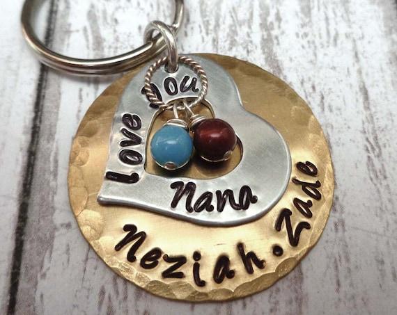 Love You Grandma Keychain - Gift for Nana - Personalized Names Keychain with Birthstone Pearls - Grandkids Names- K20