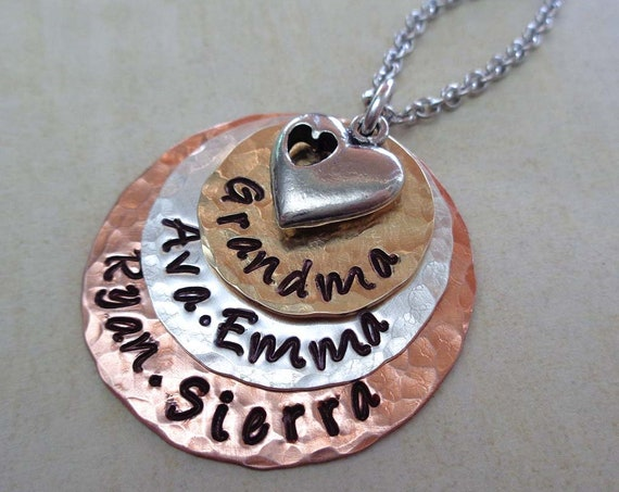 Grandma Necklace with Heart  / Personalized Names Jewelry / Hand Stamped Nana Gift / Rustic Necklace For Nonna