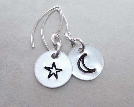 Moon Star Earrings - Mismatched Earrings - Sterling Silver Moon and Star Hand-stamped Jewelry - Minimal Moon Star Earrings - E132