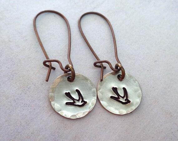 Little Sparrow / Hand Stamped Bird Earrings / Small Brass Bird Earrings / Bird Jewelry