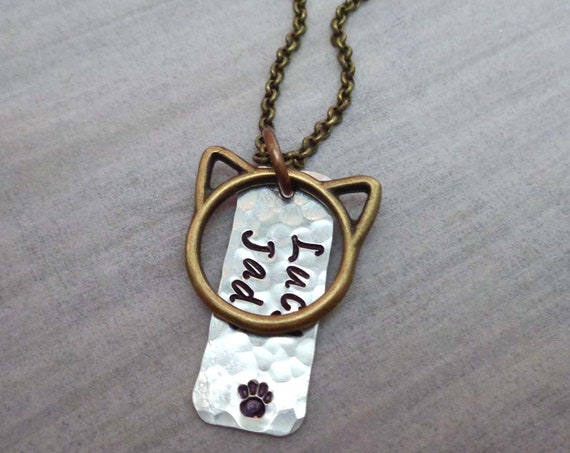 Cat Mom Necklace - Custom Cat Name - Cat Mom Gift - Personalized Pet Lover Jewelry - Cat Memorial Long Chain Necklace
