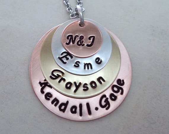 Family Stack Necklace / Custom Kids Names / Personalized Mothers Gift / Family Names Jewelry