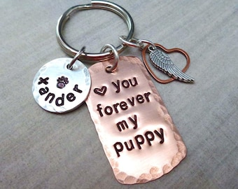 Love you Forever Pet Memorial Keychain - Forever in my heart Personalized Pet Name Keychain - Dog Cat Remembrance Gift - Memorial Gift