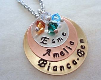 Mothers day Necklace with Birthstones / Mixed Metals Custom Names / Hand stamped Jewelry / Gift for Mom