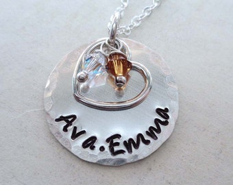 Personalized Mothers Day Gift / Mom Jewelry / Custom Names with Heart and Swarovski Crystal Birthstones