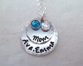 Personalized Mom Necklace with Birthstones / Mothers Day Jewelry / Custom Names Crystal Birthstones / Gift for Mom