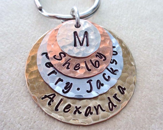 Family Stack Personalized Keychain - Custom Names Words Dates - Mother's Day Gift - My Family Hand-stamped Keychain