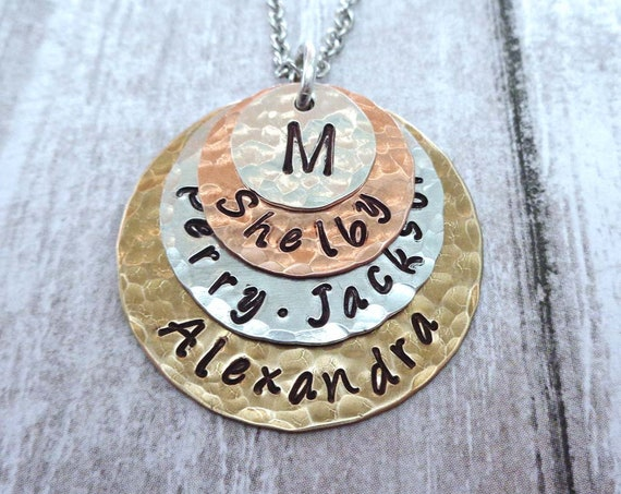 Family Monogram Necklace / Custom Names / My Family Personalized Gift / Anniversary Gift / Gift for Mom