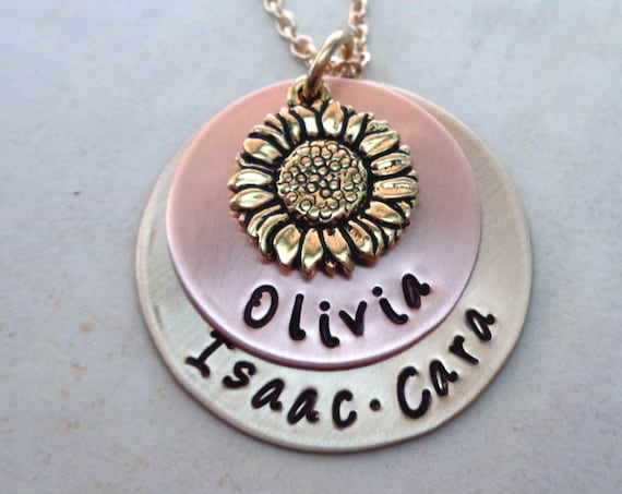 Sunflower Necklace / You are My Sunshine / Personalized Names / Valentines Gift / Rustic Jewelry