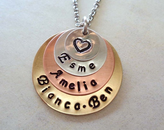 Personalized Mommy Necklace / Mothers Day Jewelry / Hand stamped Custom Names Stack