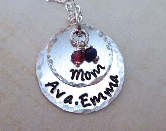Mother Necklace with Birthstones Sterling Silver / Custom Name Hand Stamped Jewelry / Mothers Day Gift / Mommy Necklace