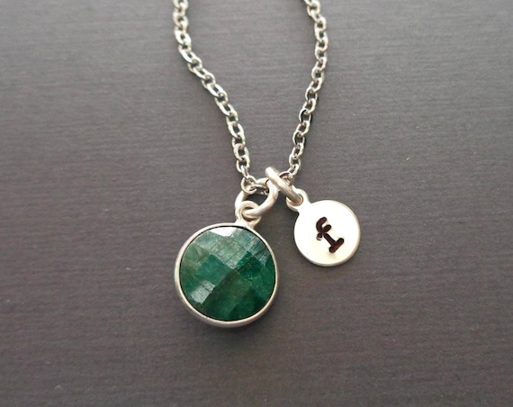 Genuine Emerald / May Birthstone Necklace / Personalized Gift / 20th Anniversary Gift / May Birthday Stone