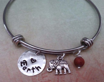 Love Earth Bangle Bracelet- Conservation Love Our Planet Earth Bangle- Protect Wildlife Sea Turtle Elephant Earth Lover Bangle -B61