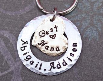 Best Nana Grandma Keychain - Personalized Names -Custom Keychain - Grandma Nonna Nana Aunt Gift