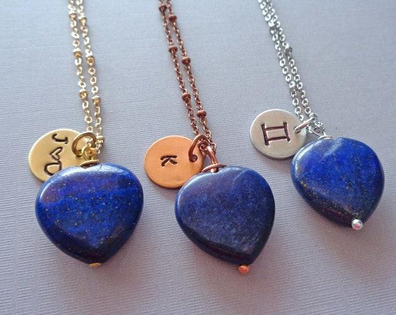 Personalized Lapis Lazuli Heart Necklace / Custom Initial Word Name / Third Eye Chakra Stone / Lapis Jewelry