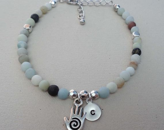 Healing Hands Initial Bracelet - Amazonite Beaded Bracelet - Massage Therapist Gift - Reiki Energy Healing Bracelet -B70