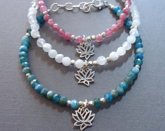 Beaded Lotus Bracelet / Pink Tourmaline Moonstone Blue Apatite / Healing Stones / Yoga Jewelry