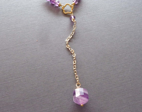 Dainty Amethyst Lariat Necklace / February Birthday Gift / Gold Amethyst Drop Y Necklace / Amethyst Jewelry