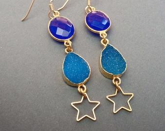 Blue Stone Star Earrings / Blue Chalcedony Sea Blue Druzy Drops / Blue Star Beach Jewelry