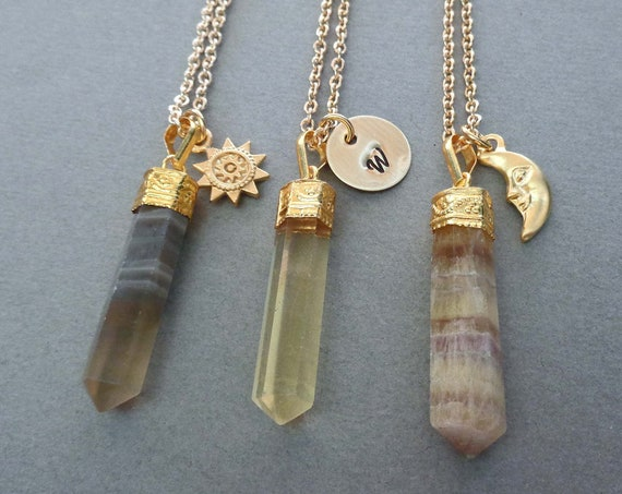Gold Fluorite Pendant Necklace /  Focus Stone / Personalized Gift for Student Teacher / Sun Moon Charm