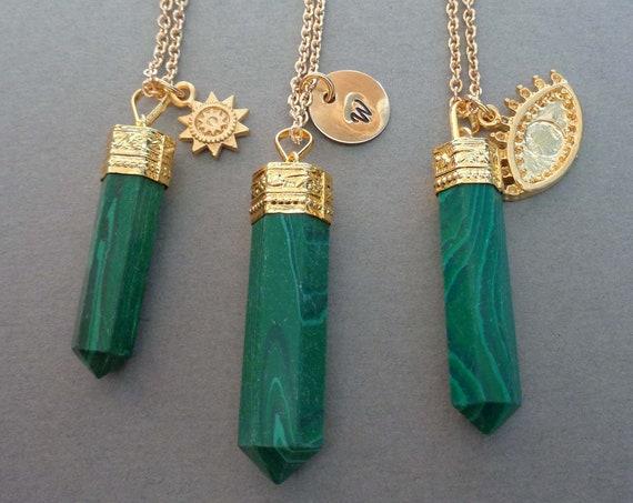 Malachite Gold Charm Necklace / Heart Chakra Crystal / Protection Stone / Evil Eye Charm / Custom Initial / Sun Charm