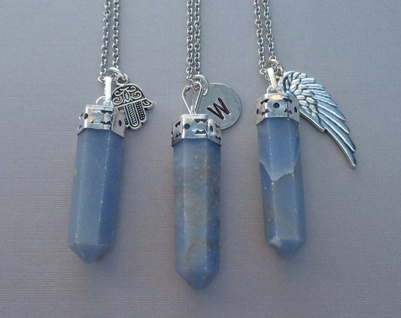 Angelite Pendant Necklace / Hamsa Angel Wing Charm / Custom Initial Word / Angel Connection Stone