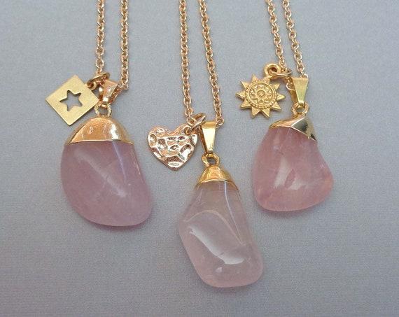 Tumbled Rose Quartz Necklace / Valentines Gift / Star Sun Heart Charm Rose Quartz / Pink Love Stone