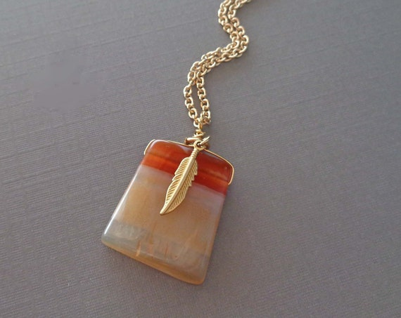 Carnelian Necklace with Gold Feather / Large Carnelian Ladder Jewelry / Colorful Necklace / Stone of Creativity & Courage