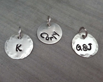 Initial Charm - Sterling Silver Initial Charm - Personalized Initial add-on - Hand-Stamped Custom