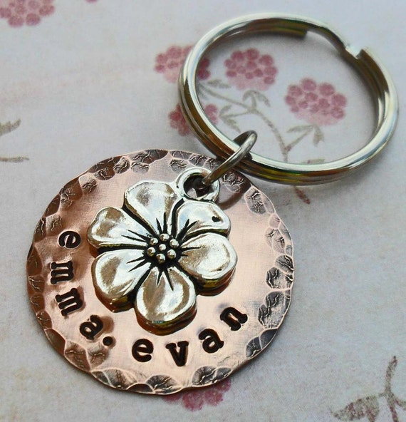 Flower Blossom Keychain- Personalized Apple Blossom  Keychain - Custom Names