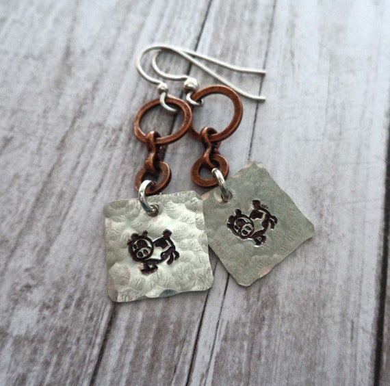 Cute Cow Earrings - Stamped Silver Cow Earrings - Rustic Earrings - Silver and Copper Cow Earrings - E124