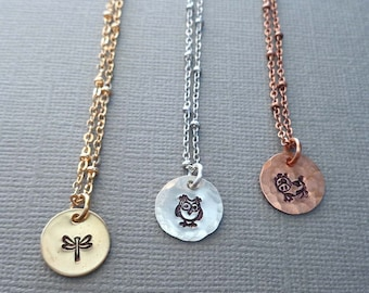 Small Animal Charm Necklace / Bird Insect Jewelry / Silver Cow Owl Dragonfly / Gold Butterfly Lady Bug Copper