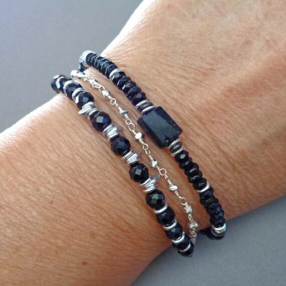 Black Onyx Black Tourmaline Silver Bracelet / Triple Strand Protection Bracelet / Empath Gift / Multi-strand Black Jewelry