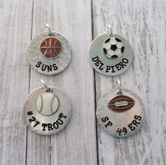 Sport Team Personalized Disc - Basketball Player - Football Team - Soccer Name Charm - Favorite Baseball Team