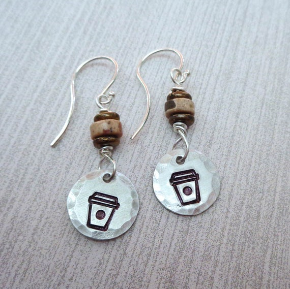 Coffee Earrings / Stamped Sterling Silver Coffee Cup / Coffee Lover Gift / Stocking Stuffer / Coffee Love / Coffee Jewelry