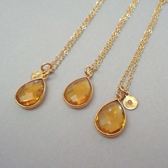 Citrine Quartz with Gold-Fill Personalized Initial Necklace / Quartz Necklace / Citrine Jewelry / November Birthstone
